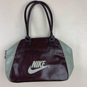 Nike Vintage Gym Bag Shoulder Tote Burgundy Gray